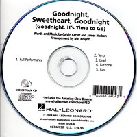 Close Harmony For Men : Goodnight, Sweetheart, Goodnight - Parts CD : TTBB : Parts CD :  : 884088240431 : 08748790